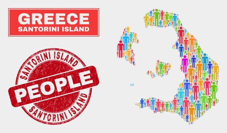 Demographic Santorini Island map illustration. People colorful mosaic Santorini Island map of guys, and red round scratched stamp seal. Vector combination for population mass representation. Illusztráció
