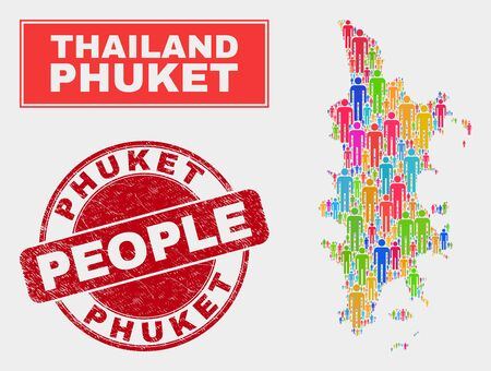 Demographic Phuket map abstraction. People bright mosaic Phuket map of men, and red round dirty stamp. Vector combination for population mass plan. 向量圖像
