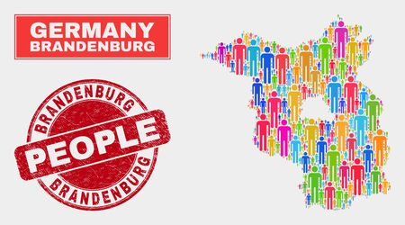 Demographic Brandenburg Land map illustration. People bright mosaic Brandenburg Land map of men, and red round corroded stamp. Vector combination for population community report.