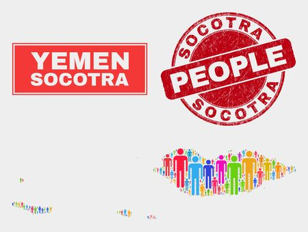 Demographic Socotra Archipelago map abstraction. People color mosaic Socotra Archipelago map of humans, and red round dirty stamp. Vector composition for national community report.