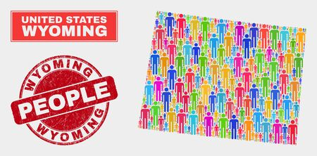 Demographic Wyoming State map illustration. People color mosaic Wyoming State map of persons, and red rounded grunge stamp seal. Vector combination for population community report.