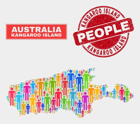 Demographic Kangaroo Island map abstraction. People color mosaic Kangaroo Island map of men, and red rounded dirty stamp. Vector collage for national community representation.