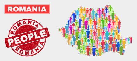 Demographic Romania map abstraction. People colorful mosaic Romania map of persons, and red round unclean stamp seal. Vector collage for population mass report. Illustration