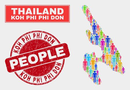 Demographic Koh Phi Don map abstraction. People bright mosaic Koh Phi Don map of humans, and red round dirty watermark. Vector collage for population community presentation. Ilustracje wektorowe