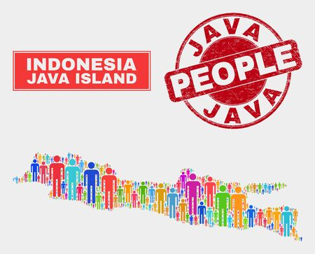 Demographic Java Island map illustration. People bright mosaic Java Island map of guys, and red rounded dirty watermark. Vector collage for population public presentation.