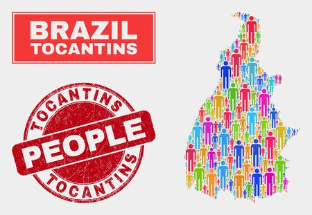 Demographic Tocantins State map illustration. People bright mosaic Tocantins State map of humans, and red round textured stamp seal. Vector composition for population group report. Illustration