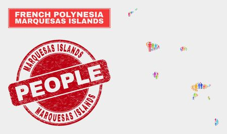 Demographic Marquesas Islands map abstraction. People bright mosaic Marquesas Islands map of men, and red round scratched stamp. Vector composition for national mass representation.