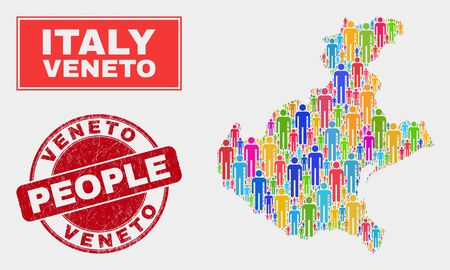Demographic Veneto region map abstraction. People bright mosaic Veneto region map of humans, and red rounded unclean watermark. Vector collage for nation public representation.