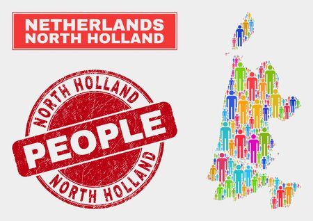 Demographic North Holland map abstraction. People colorful mosaic North Holland map of humans, and red round rubber watermark. Vector collage for nation group representation.