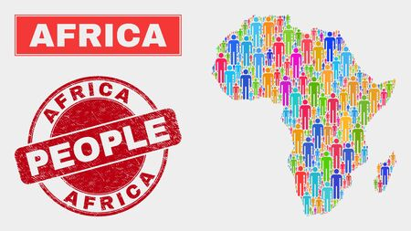 Demographic Africa map illustration. People color mosaic Africa map of guys, and red round dirty watermark. Vector composition for nation mass report.