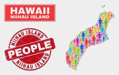 Demographic Niihau Island map illustration. People color mosaic Niihau Island map of men, and red rounded grunge stamp. Vector collage for nation mass plan. Illustration