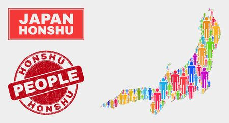 Demographic Honshu Island map illustration. People bright mosaic Honshu Island map of persons, and red rounded unclean watermark. Vector composition for population community plan.
