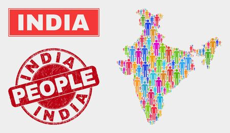 Demographic India map illustration. People color mosaic India map of men, and red rounded dirty stamp seal. Vector combination for nation community plan.
