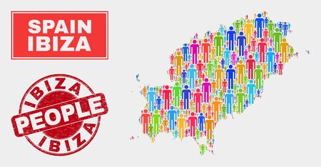 Demographic Ibiza Island map illustration. People bright mosaic Ibiza Island map of men, and red round scratched seal. Vector combination for population mass report.