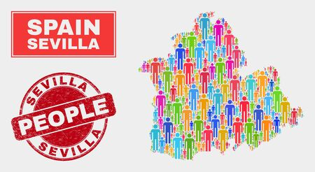 Demographic Sevilla Province map illustration. People color mosaic Sevilla Province map of crowd, and red rounded grunge stamp seal. Vector collage for nation group presentation.