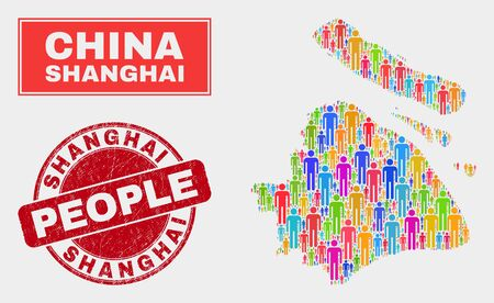 Demographic Shanghai City map abstraction. People colorful mosaic Shanghai City map of men, and red round unclean stamp seal. Vector collage for population group plan.