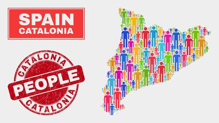 Demographic Catalonia map abstraction. People colorful mosaic Catalonia map of crowd, and red rounded textured seal. Vector collage for population group plan.