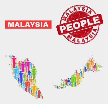 Demographic Malaysia map abstraction. People bright mosaic Malaysia map of persons, and red rounded scratched stamp seal. Vector collage for nation public plan.