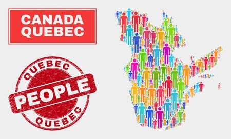 Demographic Quebec Province map illustration. People colorful mosaic Quebec Province map of humans, and red rounded rubber seal. Vector combination for population audience report.