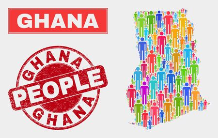 Demographic Ghana map illustration. People bright mosaic Ghana map of crowd, and red round grunge stamp. Vector composition for nation group presentation. Illustration