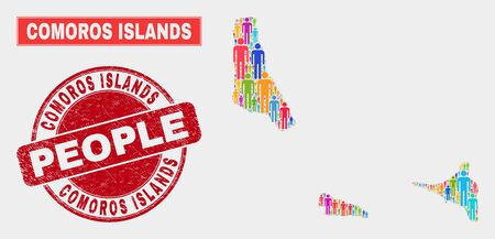 Demographic Comoros Islands map illustration. People bright mosaic Comoros Islands map of crowd, and red rounded dirty seal. Vector composition for nation public representation. Ilustração