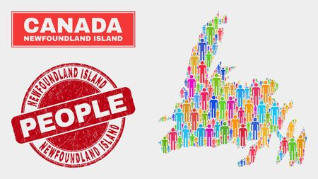 Demographic Newfoundland Island map illustration. People color mosaic Newfoundland Island map of men, and red round corroded seal. Vector combination for nation mass plan.