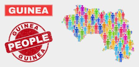 Demographic Republic of Guinea map illustration. People bright mosaic Republic of Guinea map of guys, and red rounded grunge seal. Vector composition for nation group report.