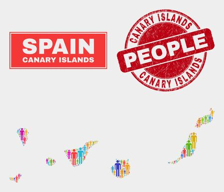Demographic Canary Islands map abstraction. People bright mosaic Canary Islands map of guys, and red rounded grunge stamp seal. Vector combination for population group report.