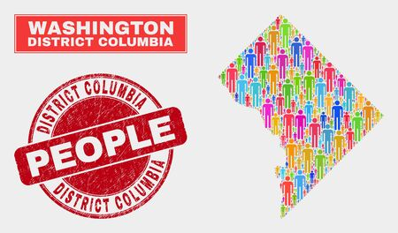 Demographic Washington District Columbia map abstraction. People color mosaic Washington District Columbia map of persons, and red rounded grunge watermark. Vector collage for nation mass plan. 일러스트