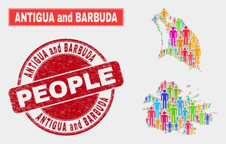 Demographic Antigua and Barbuda map illustration. People bright mosaic Antigua and Barbuda map of humans, and red round textured watermark. Vector collage for population community plan. Illustration