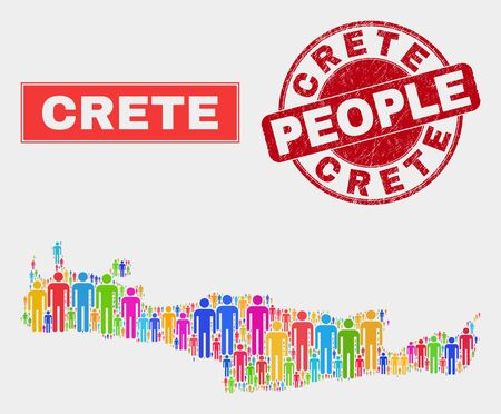 Demographic Crete map abstraction. People bright mosaic Crete map of men, and red round textured stamp seal. Vector composition for population public presentation. Ilustrace