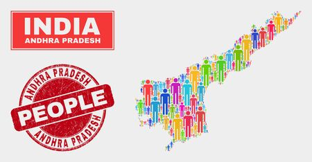 Demographic Andhra Pradesh State map illustration. People colorful mosaic Andhra Pradesh State map of guys, and red rounded grunge stamp seal. Vector combination for population public presentation.