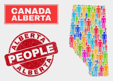 Demographic Alberta Province map abstraction. People color mosaic Alberta Province map of guys, and red round textured watermark. Vector collage for national mass report.