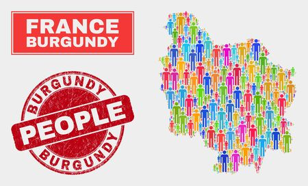 Demographic Burgundy Province map illustration. People colorful mosaic Burgundy Province map of men, and red rounded corroded stamp. Vector collage for national community report.
