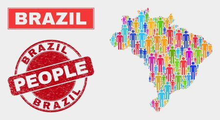 Demographic Brazil map abstraction. People color mosaic Brazil map of guys, and red rounded grunge watermark. Vector combination for national community representation.