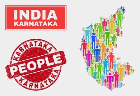 Demographic Karnataka State map illustration. People bright mosaic Karnataka State map of men, and red round grunge seal. Vector combination for population public presentation. Stock Vector - 126318082