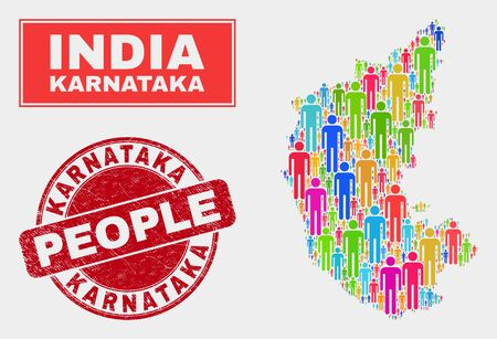 Demographic Karnataka State map illustration. People bright mosaic Karnataka State map of men, and red round grunge seal. Vector combination for population public presentation. Illustration