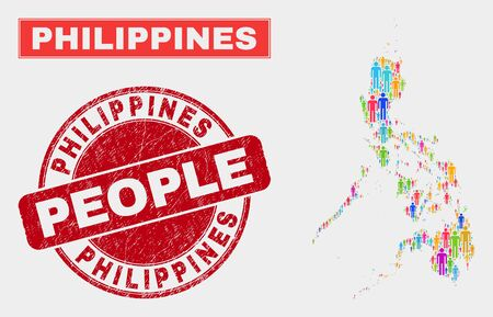 Demographic Philippines map illustration. People colorful mosaic Philippines map of men, and red round dirty stamp. Vector composition for national audience presentation.