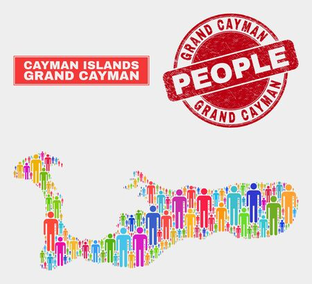 Demographic Grand Cayman Island map abstraction. People colorful mosaic Grand Cayman Island map of humans, and red round grunge seal. Vector composition for nation audience plan.