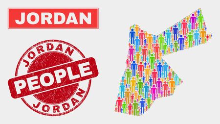 Demographic Jordan map illustration. People bright mosaic Jordan map of guys, and red rounded unclean seal. Vector collage for population public representation.