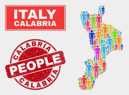 Demographic Calabria region map abstraction. People bright mosaic Calabria region map of guys, and red round textured watermark. Vector composition for population community representation.