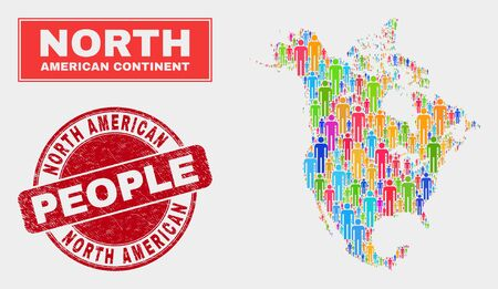 Demographic North America v2 map abstraction. People bright mosaic North America v2 map of humans, and red rounded textured stamp seal. Vector composition for population mass plan.