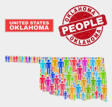 Demographic Oklahoma State map abstraction. People color mosaic Oklahoma State map of crowd, and red round grunge seal. Vector combination for nation mass report.