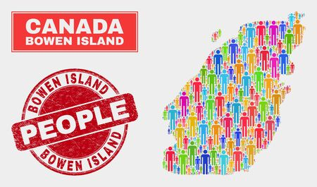 Demographic Bowen Island map illustration. People colorful mosaic Bowen Island map of men, and red round textured stamp. Vector combination for nation community presentation.