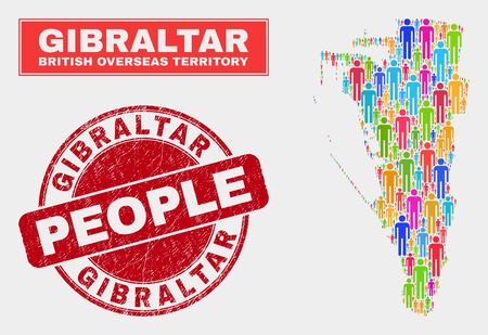 Demographic Gibraltar map abstraction. People colorful mosaic Gibraltar map of persons, and red rounded corroded seal. Vector combination for population audience plan. Illustration