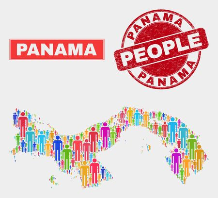Demographic Panama map illustration. People color mosaic Panama map of humans, and red rounded dirty seal. Vector composition for nation audience report.