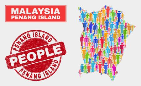 Demographic Penang Island map abstraction. People colorful mosaic Penang Island map of guys, and red rounded textured seal. Vector composition for population public presentation. Illustration