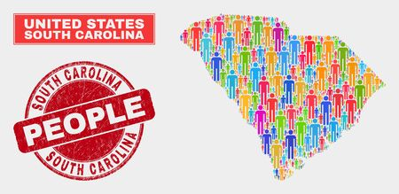 Demographic South Carolina State map abstraction. People colorful mosaic South Carolina State map of persons, and red rounded dirty stamp seal. Vector combination for nation mass report.