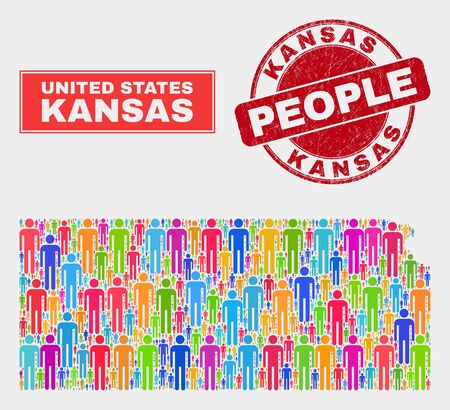 Demographic Kansas State map abstraction. People color mosaic Kansas State map of guys, and red rounded grunge stamp. Vector combination for national group plan. Illustration
