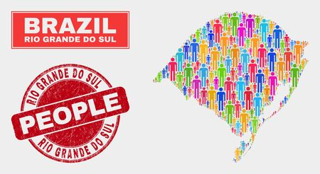 Demographic Rio Grande do Sul State map abstraction. People color mosaic Rio Grande do Sul State map of persons, and red rounded dirty stamp. Vector collage for population audience representation.